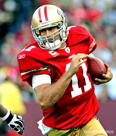 20 September 2010: 49er Alex Smith runs the ball during the New Orleans Saints' 25-22 win over the San Francisco 49ers at Candlestick Park in California.