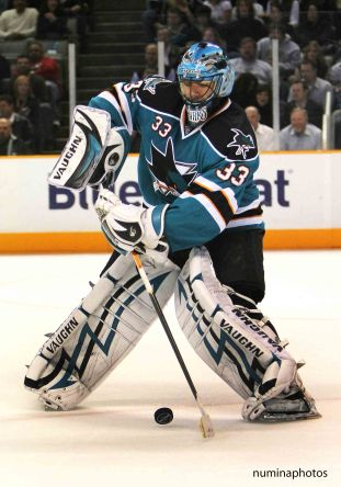 13 November 2008: Sharks goalie Brian Boucher during the Sharks 6-1 win over Calgary at the HP Pavilion in San Jose, California *** for editorial use only ***