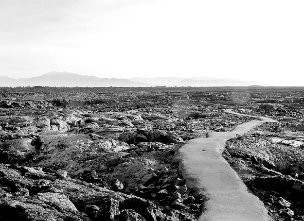 Crater path b&w