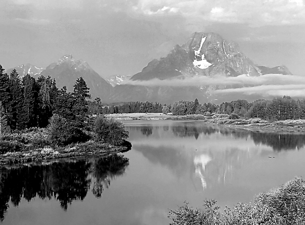 Tetons and lake b&w
