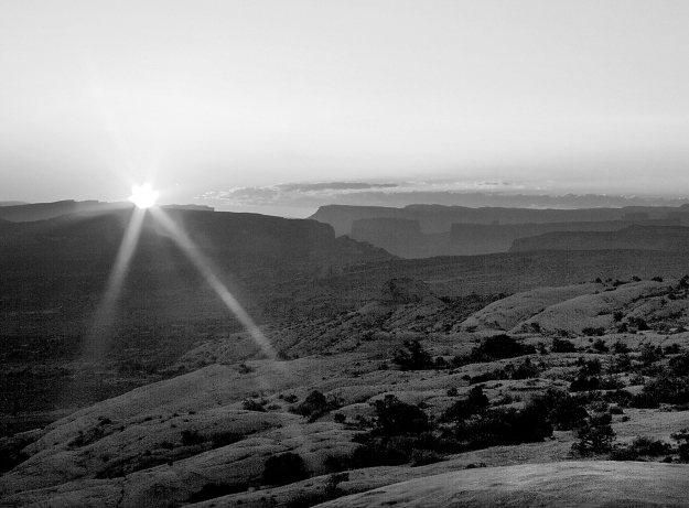 Sunrise over Salt Valley b&w