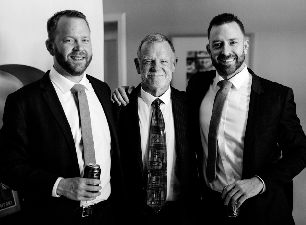 Dad and sons bw