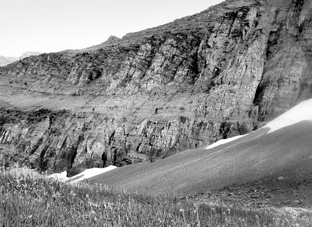Glacier rock b&w
